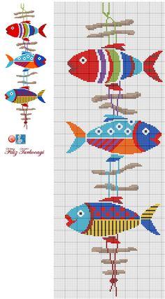 Bright fish cross stitch chart / pattern