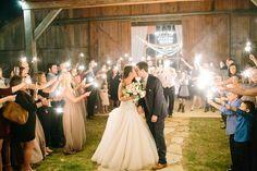 Silver & Lace vintage barn wedding.  photo by The Tarnos.  Bride & Grooms exit.