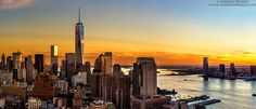 Panoramic View of World Trade Center and the Hudson River at Sunset - http://andrewprokos.com