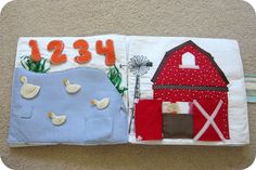 Adding barn to my quiet book.  Also includes pattern for barn and finger puppets.