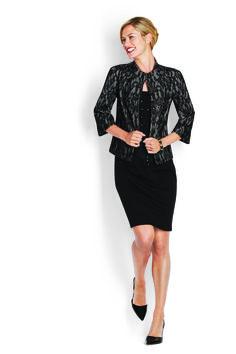 Lace Overlay Jacket, Jersey Embellished Tank & Ponte Pencil Skirt http://www.myjockeyp2p.com/wprice