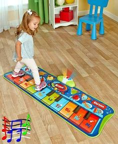 This Step-to-Play Junior #Piano Mat encourages your little one to get creative. They'll love all the sounds made by this 10-key piano, as well as its flashing lights. Includes 6 different musical instrument sounds, 4 animal sounds and a rhythm selection, plus 20 built-in demo songs to encourage them to start creating songs on their own. It records and plays back the music they create.