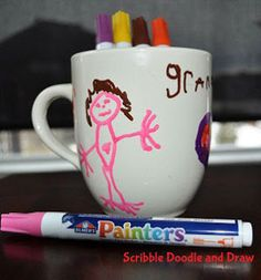 crafts for kids painted mugs made with sharpies for Valentines day
