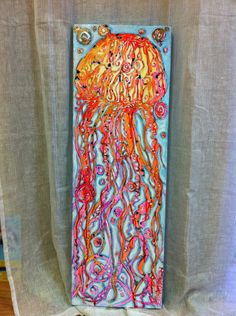 Vibrante Jelly Fish Painting on Canvas 12 x 36 inches. $175.00, via Etsy.