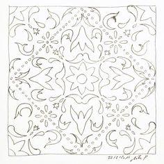 """Wimmelt von """"Fehlern"""" hat aber Spaß gemacht. Vielleicht versuche ich mich die Tage noch an einer akkurateren Version. Und damit heute nicht alles schwarz-weiss war (Arbeit Himmel Kritzeln) male ich es gleich noch dem Vorbild entsprechen an. NIMM DAS WETTER! #kritzelnzwosechzehn #sketchbook #mujipen #buntstifte #ihavethisthingwithfloors #azulejos #baldosas #tiles"""