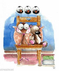 Original Watercolor Folk Art Whimsy Illustration Mouse Teddy Storytime Book Crow | eBay