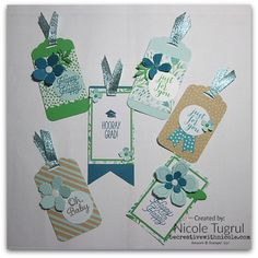 Nicole's tags using Pocketful of Cheer Paper Pumpkin Kit, Botanical Builder framelits, Scalloped Tag Topper Punch, Pool Party Glitter Ribbon - all from Stampin' Up!