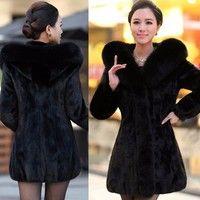 Wish | New Winter Lady Women's Luxury Faux Rabbit Fur Hood Long Coats Jacket Outwear