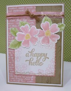"HAPPY HEART CARDS: JAI #324: STAMPIN' UP! BIRTHDAY BLOSSOMS ""HELLO"" CARD"