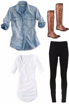 Chambray, white T, black leggings, brown boots