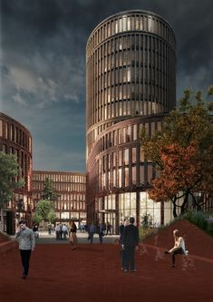 office facades. MVRDV Wrap Curving Retail Plinth Around Landmark Office Tower In Lodz Office Facades L