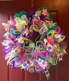 Large Easter wreath Deco Poly Mesh cheveron spring by KristianaWreaths on Etsy https://www.etsy.com/listing/222312789/large-easter-wreath-deco-poly-mesh