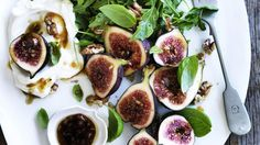 Neil Perry's Salad of fresh figs with walnuts, goat's curd and pomegranate vinaigrette.