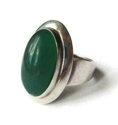 NE From chrysoprase + sterling silver modernist ring, Niels Erik N E, Scandinavian silver, vintage 60s 1960s Danish space age jewelry. https://www.etsy.com/uk/listing/550934439/ne-from-chrysoprase-sterling-silver