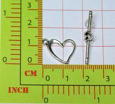 Toggle Clasps Love Heart Silver Tone, 13x17mm, Closure for Jewerly, Necklace, Bracelet, Pendant, Earring supply findings