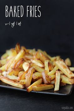 These baked fries are so easy to make that it might become a daily treat, or at least a weekly one. Come on, don't hold back! They're just potatoes, after all! With no added oil or salt, they are no longer those greasy, sodium-soaked fast food things. All-natural potatoes are a good source of vitamin C, B6, potassium and fiber. So eat up!
