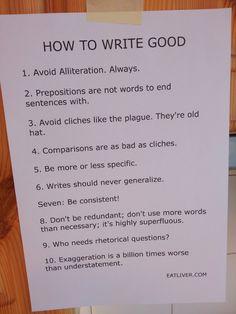 Hehehe! Rules for writing.