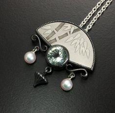 Bamboo motif fan shape silver Keum Boo pendant with by KAZNESQ
