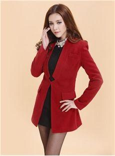 Korean Style Slim Wool Middle-length Blazer: dressyours.com