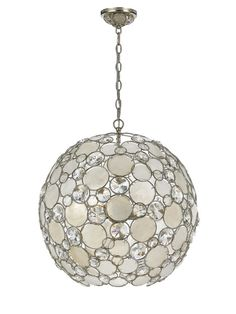 Palla Chandelier by Crystorama at Gilt. Antique silver leaf hand painted wrought iron chandelier Features neutral capiz shell lenses in clear crystal accents.