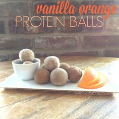 vanilla orange protein balls that taste like dreamsicles!