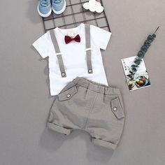 Verano niños arco ropa del bebé Caballero alto Qulity Camiseta corta + Pantalones  Niño niño ropa af24b7ae89f9
