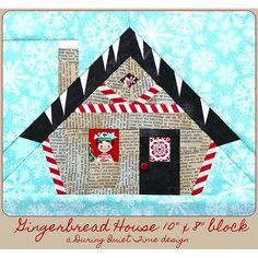 """This PDF pattern is called """"Gingerbread House."""" This gingerbread house is a fun opportunity to showcase a favorite fussy cut or two. Who might be looking out your window? Magical Christmas, Christmas Paper, Paper Peicing Patterns, Christmas Quilt Patterns, Christmas Runner, Place Mats Quilted, Foundation Paper Piecing, English Paper Piecing, Pdf Patterns"""