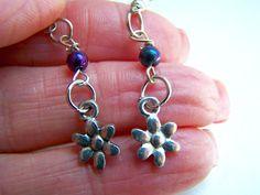 Purple Bead Daisy Dangle Earrings by doodaba on Etsy Purple Earrings, Dangle Earrings, Art Deco Necklace, Gold Necklace, Purple Daisy, Art Deco Wedding, Handmade Items, Handmade Gifts, Glass Beads