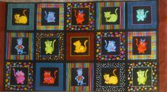 Cool Cats Panel~ by Loralie Designs~Cotton Fabric, Quilt, Home Decor~691791B~Fast Shipping,N225