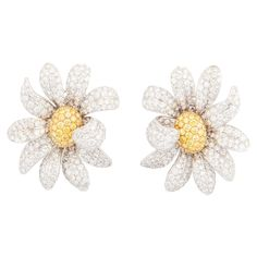 Ambrosi Daisy Diamond gold Earrings | From a unique collection of vintage lever-back earrings at https://www.1stdibs.com/jewelry/earrings/lever-back-earrings/