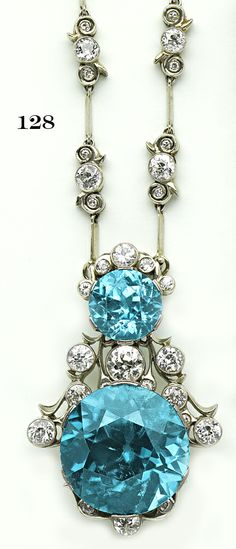 Edwardian zircon, diamond and platinum necklace.