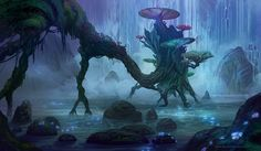 Hidden Treehouse by nilTrace fairy mushroom swamp lagoon landscape location environment   Create your own roleplaying game material w/ RPG Bard at www.rpgbard.com   Writing inspiration for Dungeons & Dragons DND Pathfinder PFRPG Warhammer 40k Star Wars Shadowrun Call of Cthulhu and d20 fantasy science fiction scifi horror design   Not our art: please click artwork for source