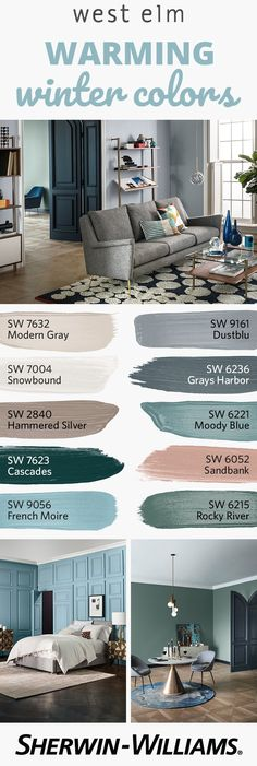As it gets cold outside, bring some warmth inside with the colors of the west elm Fall/Winter 2017 palette. Perfect for doors, trim, accent walls and more, this collection features 12 neutral-forward Room Paint Colors, Paint Colors For Home, Living Room Colors, House Colors, Colour Schemes For Living Room Warm, Bedroom Colors, Living Room Bed, Western Paint Colors, Grey Living Room Ideas Colour Palettes