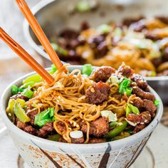 Mongolian Beef Ramen Noodles Recipe Main Dishes with flank steak, corn starch, vegetable oil, green bell pepper, slice, ramen noodles, green onions, sesame oil, soy sauce, brown sugar, chicken broth, garlic, red pepper flakes