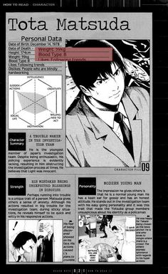 Blood Group B Tota Matsuda Death Note Personality Group