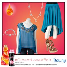 This Feisty Fresh look was inspired by Downy Infusions Citrus Spice and Downy Unstopables Shimmer. This flirtatious outfit will make you feel anything but blue! To shop this look, visit the LC Lauren Conrad collection available only at Kohl's. To register for the #ClosetLoveAffair sweepstakes visit https://downy.promo.eprize.com/pinterest/.