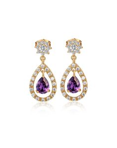 VIPme (VIPSHOP Global) - KUNIU Purple Feminine Classic Oval Rhinestone Stud Earrings - AdoreWe.com