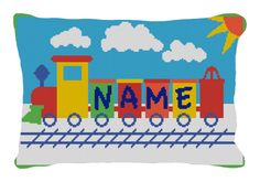 Check out our latest Needle Point Train Pillow specially designed for kids! Customize it with your kid's name on it!