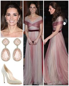 The Duchess of Cambridge attended the 100 Women in Finance gala dinner on Wednesday, February 2019 wearing a pink chiffon gown from Gucci. She topped off the look with sparkly pumps, a velvet clutch and Kiki McDonough Morganite and Diamond earrings. Estilo Kate Middleton, Kate Middleton Style, The Duchess, Prince William And Catherine, William Kate, Royal Clothing, Catherine The Great, Estilo Fashion, Matches Fashion