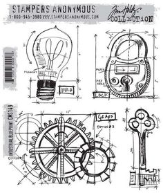 Stampers Anonymous - Tim Holtz - Cling Mount Stamp - Industrial Blueprint