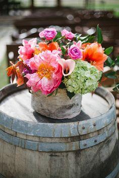 Rustic wedding, birch vase, coral peonies, Twigs Floral