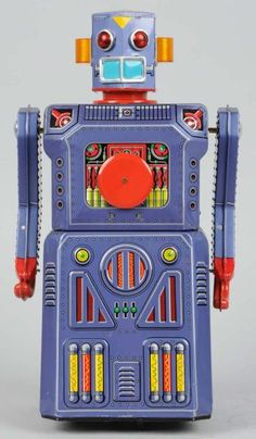 http://morphyauctions.auctionflex.com/showlot.ap?co=31120=28192=10263300=lotnumasc=20=PreviousLotInAuction=En  Tin Litho & Painted Battery-Operated Target Robot. One of the gang of five.   #Robot, #ModernToys, #Toy