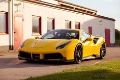 Ferrari 488 GTB z pakietem aerodynamicznym z carbonu, obniżonym zawieszeniem oraz zestawem wytrzymałych kół Novitec Rosso  B|   Przepis idealny?  Oficjalny Dealer NOVITEC GROUP GranSport - Luxury Tuning & Concierge http://gransport.pl/index.php/novit