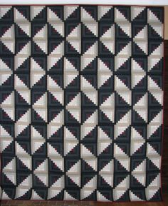 Log Cabin quilt 87 x 106 inches Quilts by Betty Jean on Etsy unique block arrangement