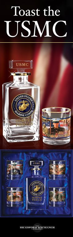 Raise a glass in honor of your Semper Fi spirit! This limited-edition 5-piece decanter set showcases the riveting artwork of Glen Green and James Griffin and gleams with 12K gold accents. It even arrives with a satin-lined gift box.