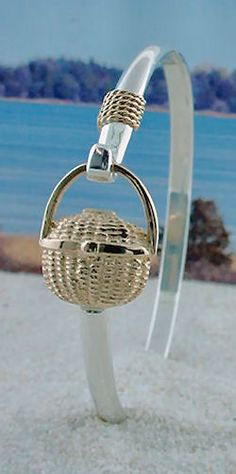 14K Gold Nantucket Basket on Sterling Silver Bracelet with 14K Nautical Rope