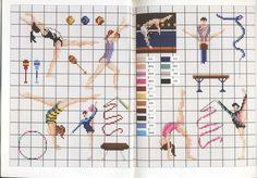 0 point de croix filles gymnastique - cross stitch gymnastics girls