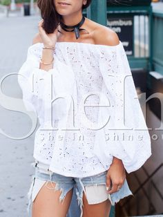 White Off The Shoulder Puff Sleeve Eyelet Blouse 26.99