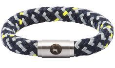 BOING Sailing Rope Wristband Bracelet: Chunky HUDSON - Black, Grey, Yellow | Lush Labels British designed jewellery, accessories & gifts #ShopifyPicks
