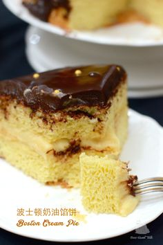 The Furry Bakers: 波士顿奶油馅饼 Boston Cream Pie Biscuit Bread, Boston Cream Pie, Bread Cake, Pudding Cake, Cake Art, Cake Cookies, Food Pictures, Cookie Dough, Sweet Tooth
